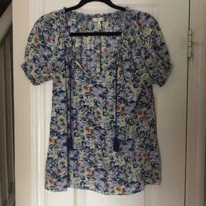Joie Silk Peasant Top